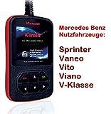 Mercedes Benz Sprinter Vaneo Vito, Viano Clase V Dispositivo Alemán códigos de error de diagnóstico y borrar airbag Motor ABS Kombi Instrumento y todos los demás piezas de impuestos i980ICarSoft xxltech