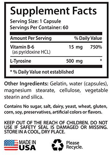 Tyrosine and Vitamin B6 - L Tyrosine 500mg - Increases thermogenesis (3 Bottles - 180 Capsules)