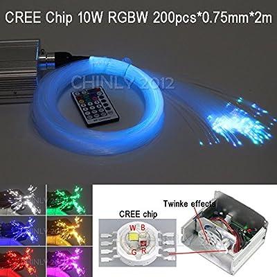 CHINLY 10W RGBW 28key remote LED Fiber Optic Star Ceiling Lights Kit 200pcs 0.75mm 6.5ft optical fiber+cryatal