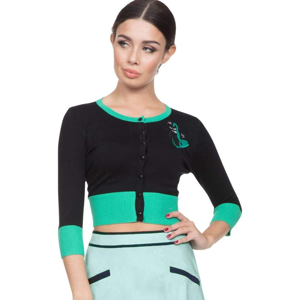 Voodoo Vixen Women's Jade Retro Kitty 3/4 Sleeve Crop Cardigan Black VVWCAR123