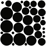 68 Black Polka Dot Wall Stickers Removable Dot Wall Decals