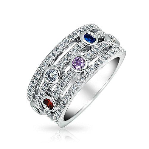 Half Eternity Band Bezel (Bling Jewelry Multicolor CZ Half Eternity Band Rhodium Plated Brass Ring)