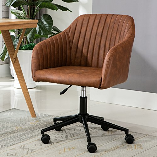 Porthos Home SKC046A BRN Madison Task Chair with Height Adjustable Feature, 360° Swivel, Steel Base with Roller Wheels and PU Leather Upholstery (for Home Studios and Offices), One Size, Brown