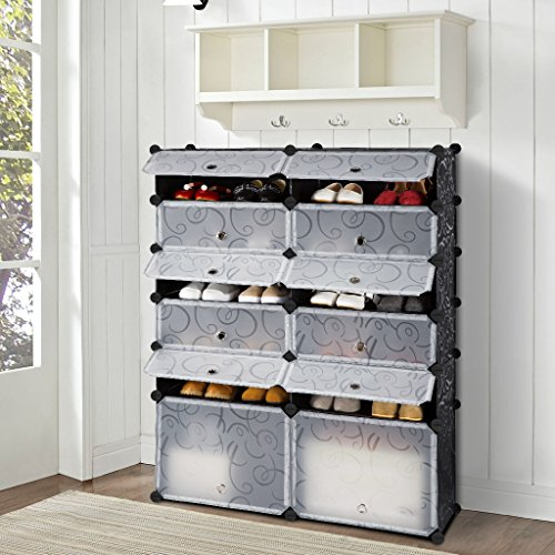 12-Cube DIY Shoe Rack Modular Organizer Plastic Cabinet by LANGRIA 6 tier Shelving Bookcase Cabinet Closet Black (12 - Regular Cube) (Shoe Rack Cubby)