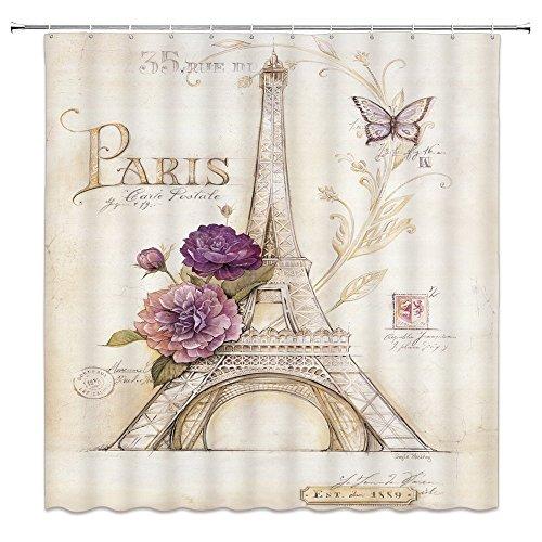 Feierman Vintage Eiffel Tower Shower Curtain Art Decor Flowers Butterfly Romantic Paris Bathroom Curtain Decor with Hooks 70x70Inches -