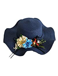 Straw hat Sun Hat Summer Beach Straw Hat Sun Protection Flower Sun Visor Travel Outdoor UV Hat Suitable for Outdoor Summer (Color : Navy, Size : One Size)