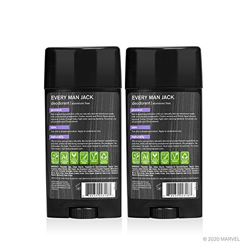 Every Man Jack Deodorant Marvel Black Panther 3 Ounce Twin Pack 2 Sticks Included Naturally Derived Aluminum Free Parabens Free Pthalate Free Dye Free And Certified Cruelty Free Beauty