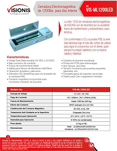 FPC-5018-VS Visionis Kit para Control de Acceso de UNA Puerta con apertura hacia afuera, Cerradura Electro Magnética de 1200lbs, Receptor Inalámbrico y ...