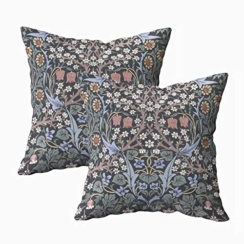 Musesh Anchor Pillow Cases, Pillowcase Blackthorn Wallpaper by William Morris 16X16Inch Pack of 2 Throw Pillow Covers for Sofa Home Decorative