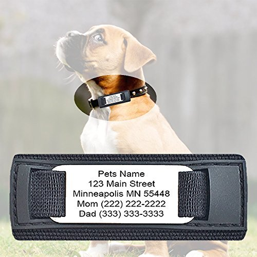 Performance IDs Customized Durable Velcro Pet ID Tags for Small, Medium, Large Collars - Free Engraving on Stainless Steel Plate - 10 lines of engraving - Pet ID, Dog ID, Cat ID, Animal ID (Black) by Performance IDs (Image #3)