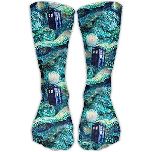 Custom Funny Stockings Tardis Dress Crew Girls Boys Knee Long Socks Travel Breathable -