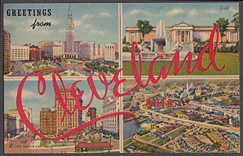 Greetings from CLEVELAND Large Letter 4-view postcard 1954