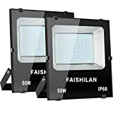 FAISHILAN 2 Pack 50W LED Flood Light Outdoor IP66 Waterproof with US-3 Plug 5000Lm for Garage,Garden,Yard