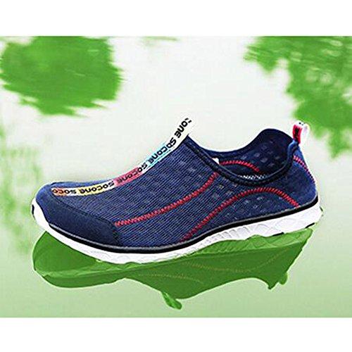 Damen Herren Unisex Aquaschuhe Strand schuhe Breathable Ineinander Greifen Wasser schuhe Schnell Trocknend Schwimm Schuhe Surfschuhe Navy Blau