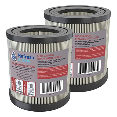 - Refresh Replacement for Wet/Dry Shop Vac Air Filter model R17186 and Craftsman 17816 and Ridgid VF4000, VF4200 (2 pack)