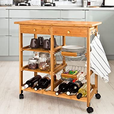 SoBuy Kitchen Trolley ,Kitchen Cart, Kitchen Island,Serving Cart