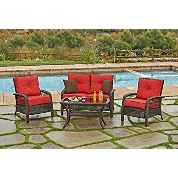 Amazon Com 4 Piece Chelsea Cappuccino Resin Wicker Patio Loveseat Chairs Amp Table Furniture Set Kate Sky Cushions Garden Amp Outdoor