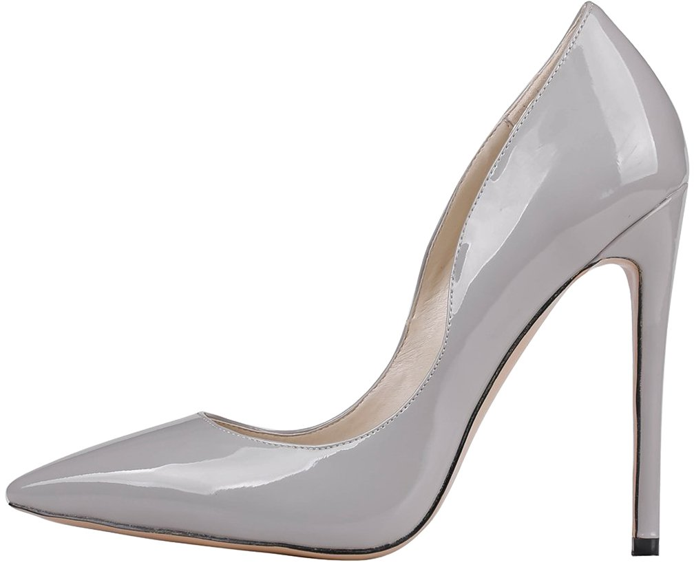 Calaier Mujer Caworry Tacón De Aguja 12CM Sintético Ponerse Zapatos de tacón 44.5|Gris