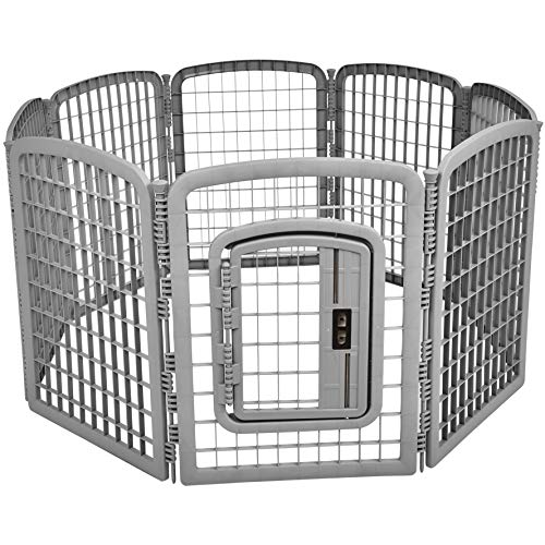 AmazonBasics 8-Panel Plastic Pet Pen Fence Enclosure With Gate - 64 x 64 x 34 Inches, Grey