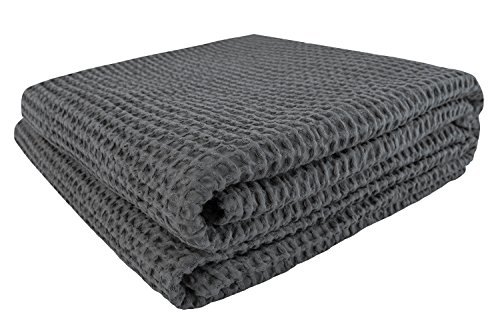 PHF Waffle Weave Blanket 100% Cotton Breathable Warm Right Weight for Winter and Summer King Size Charcoal