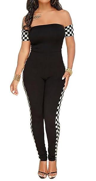 113fac85d16f Amazon.com  ARTFFEL-Women Vogue Off Shouler Plaid Printed Backless Club Bodycon  Romper Jumpsuits  Clothing