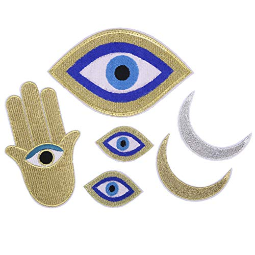 Cartoon Golden Eyes Hand Moon Planet Embroidery Chapter Embroided Cloth Patches Clothes Patch Applique Garment Accessories 6 - Eye Pillow Sew