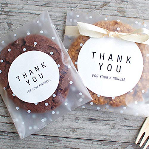 Self Adhesive Treat Bag Cookie Bags Party Favor Bag White Polka Dot Chocolate Candy Gift Bags (3.9x5.9 ()