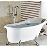 GOWE Chrome Finish Floor Mounted Free Standing Bathtub Mixer Tap Faucet W/Hand Held Shower