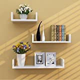 TANBURO Set of 3 White Floating Shelves U Shaped Wall Shelf Book CD DVD Toys Storage Display E1 MDF Quick to Install