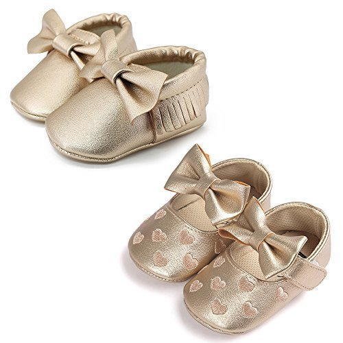 OOSAKU Infant Toddler Baby Soft Sole PU Leather Bowknots Shoes (12-18 Months, Gold+Gold A) by OOSAKU (Image #2)