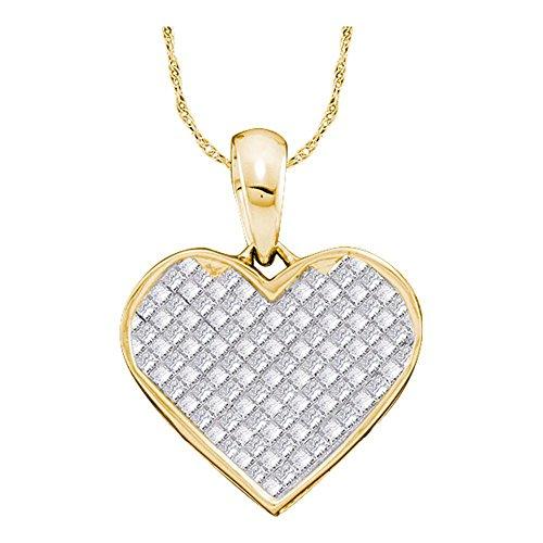 Roy Rose Jewelry 14K Yellow Gold Womens Princess Diamond Heart Love Pendant 1/4-Carat tw