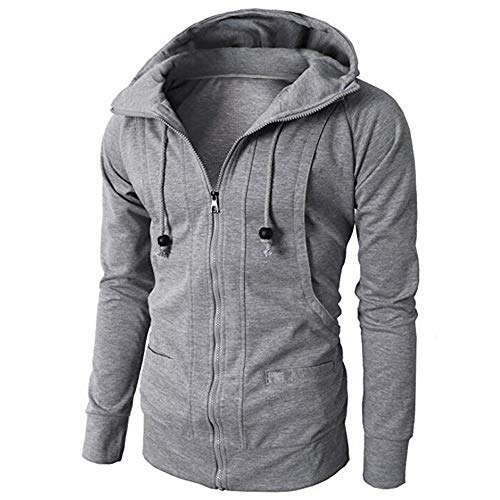 - Clearance! Mens Casual Hoodie Jackets Double Zipper Closer with Two Tone Color