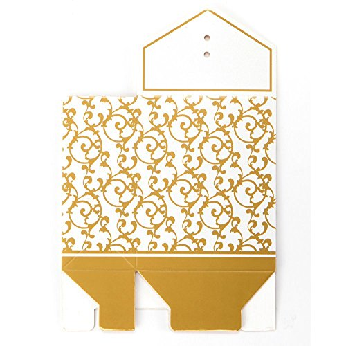 Box Candy Wedding - 50x Box Dragee Accessory Wedding Decoration Table Baptism Party Fleur Dore - Party Box Candy Box Gift 12 Food Flower Cake Bomboniere Box Drage Silver Plastic ()