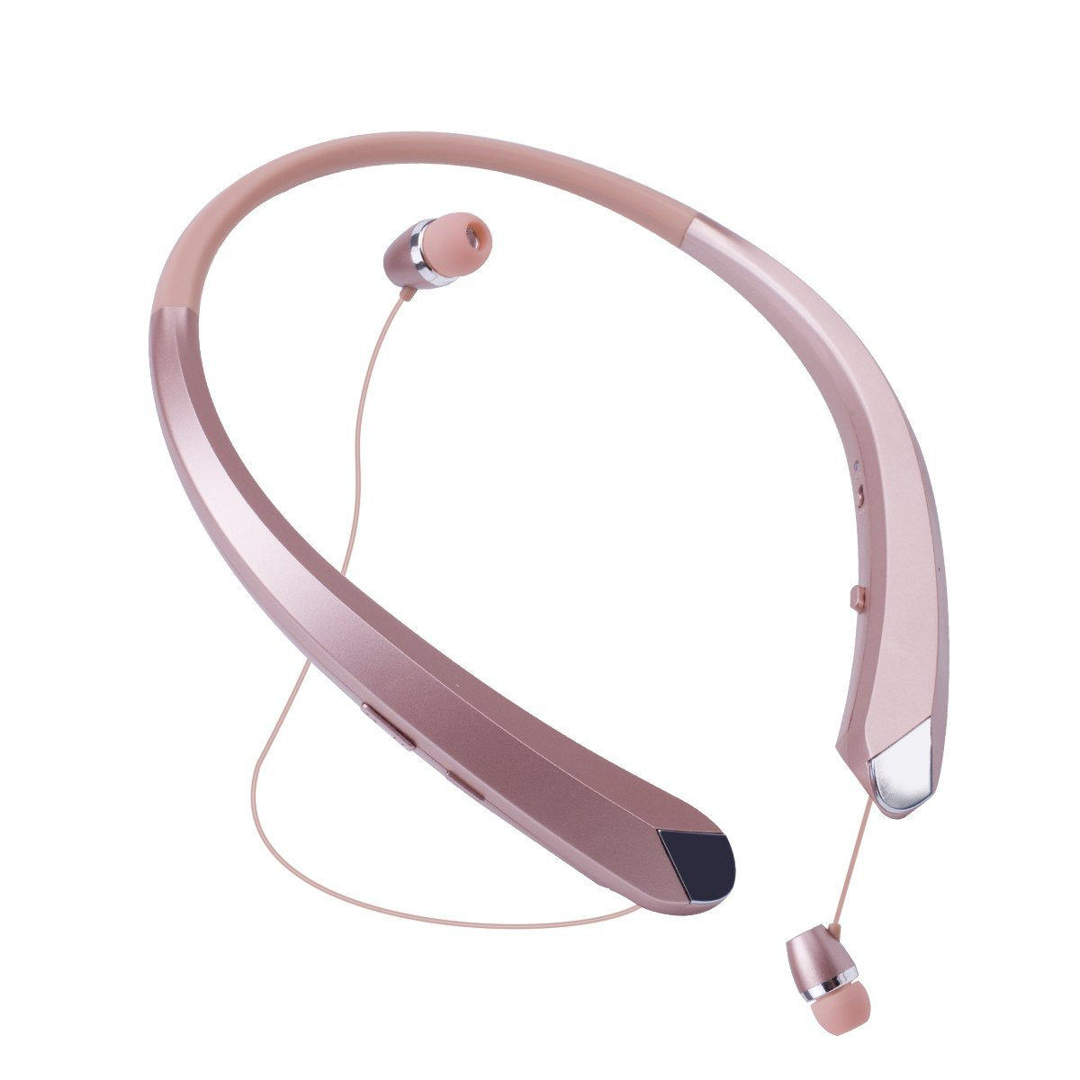 Bluetooth Retractable Headphones, Wireless Earbuds Neckband Headset Stereo Sweat-proof Sports Earphones with Mic for iPhone X/8/7/6, Android and Other Bluetooth Devices by Kikistep (Rose Gold) by Kikistep