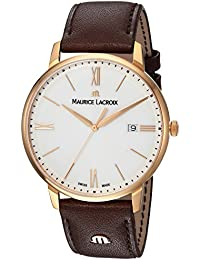 Men's 'Eliros' Swiss Quartz Gold-Tone and Leather Casual Watch, Color:Brown (Model: EL1118-PVP01-112-1)