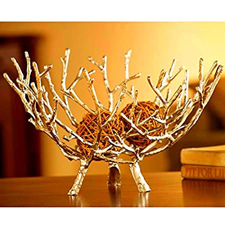 Dipamkar® Large Gorgeous Gold Desktop Ornaments Metal Fruit Bowl ...