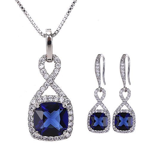 Cubic Zirconia Wedding Jewelry Sets - Women's Vintage Sterling Silver Infinity Square Blue Sapphire Crystal CZ Rhinestone Necklace Earring Set Bridal Jewelry for Bride Bridesmaids Mother of Bride Blue Sapphire Crystal Earrings