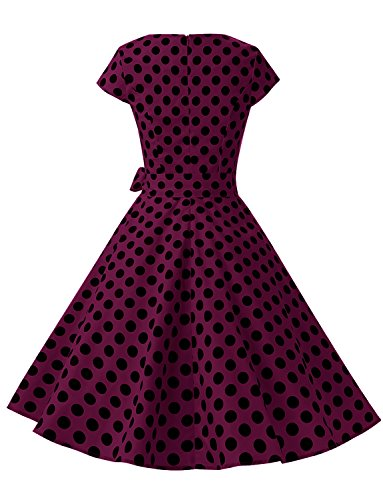 Dresses Sleeve Black Dressystar Women Retro Cap Burgundy Vintage 1950s Rockabilly B Prom Dot BgYwZC8qxw