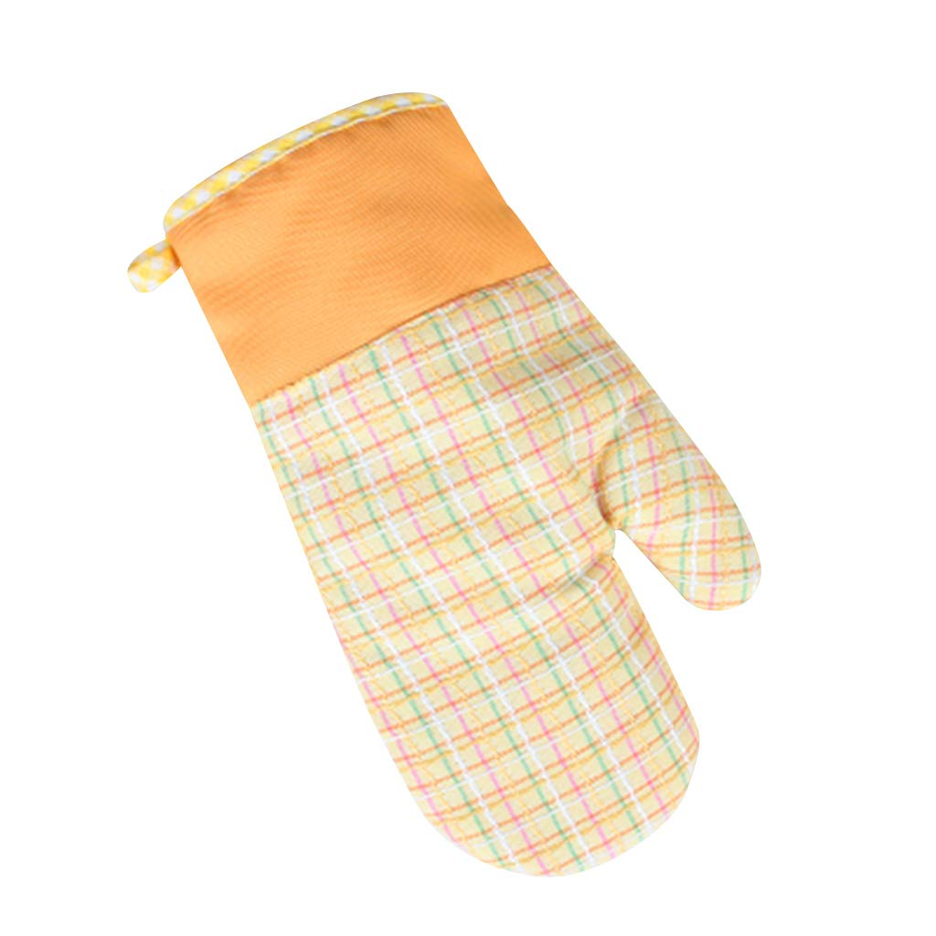 Oven Glove,MOMU,1Pc Cotton Oven Glove Plaid Contrast Color Thicken Lining Heatproof Mittens Kitchen Cooking Baking BBQ Potholders Tool