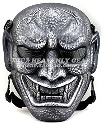 Hannya Style Wire Mesh Skull Mask with Belt [ GunMetal ] Lightwaight Type