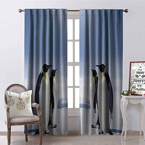 Gloria Johnson Sea Animals Wear-Resistant Color Curtain Two Pairs of Penguins Facing Each Other at South Sunny Antarctica Waterproof Fabric W52 x L95 Inch Purple Grey Black White