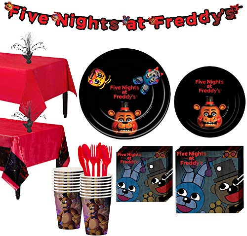 Party City Five Nights at Freddy's Tableware Party Supplies for 16 Guests, Include Plates, Napkins, a Banner, and More