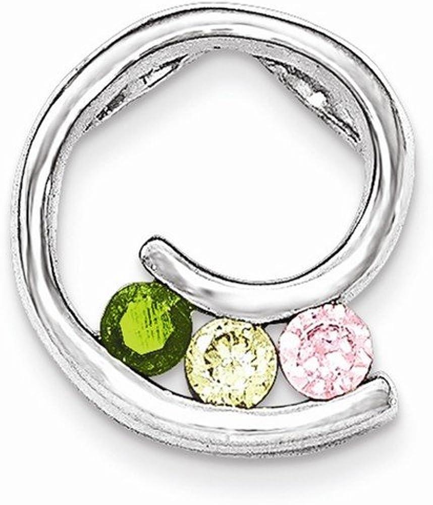 Beautiful Sterling Silver Polished Green,Yellow,Pink CZ Slide
