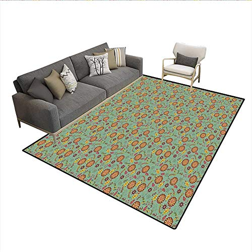 Carpet,Retro Artistic Flowers and Leaves Nostalgic Spring Fantasy Theme Cheerful Garden,Area Silky Smooth Rugs,Multicolor 6'x7'