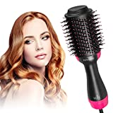 One Step Hair Dryer & Volumizer, Felicigeely Hair Dryer Brush 3 In 1 Negative Ions Hot Air Brush, Ceramic Electric Blow Dryer Brush with Floral Headband and 2 Duckbill Hair Clips (Pink)