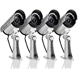 Puronic 4 Pack Dummy Fake Security CCTV Dome Camera with Flashing Red LED Light with Warning Security Alert Sticker Decals, Sliver