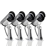 Megach Fake Surveillance Cameras 4 Pack Outdoor/Indoor Waterproof Wireless Surveillance Equipment Dummy Video Surveillance with Flashing Night Light LED Simulated Cameras (Silver 4 Pack)