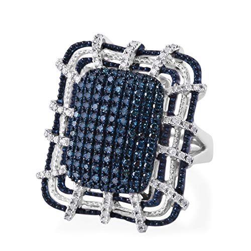 - Blue Diamond Cluster Ring 925 Sterling Silver Blue Rhodium Plated Gift Jewelry for Women Size 11 Ct 1