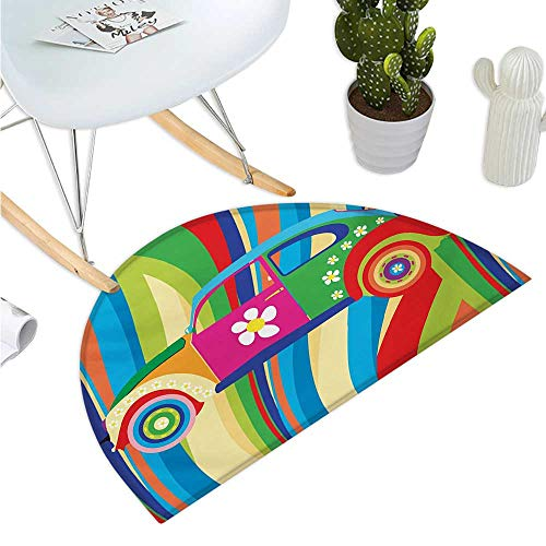 Modern Semicircle Doormat Retro Vector Hippie Style Classic Car with Daisy and Bold Stripes Artwork Print Entry Door Mat H 19.7