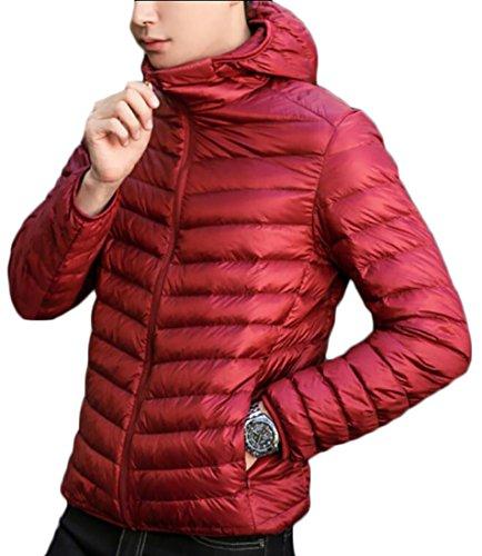 Ultra Men's Generic Warm Light Red Wine Coat Down Puffer Hoodies rrqEdU